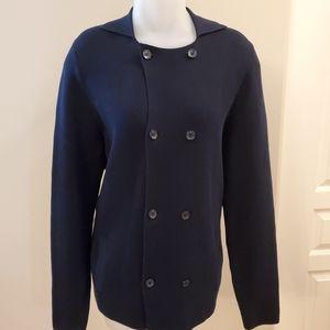 Dark Navy Double Breasted Sleek Cardigan Large